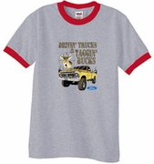 Ford Truck T-Shirts Driving and Tagging Bucks Adult Ringer Tees