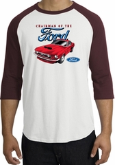 Ford Mustang Raglan Shirt - Chairman Of The Ford Adult White/Maroon