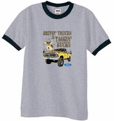 Ford Truck T-Shirt Driving and Tagging Bucks Ringer Tee Grey/Black