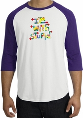 I'm With Stupid Raglan Shirt - Funny Two Ways Adult White/Purple Tee