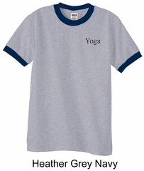 Mens Yoga T-shirt Yoga Logo Pocket Print Adult Ringer Shirt