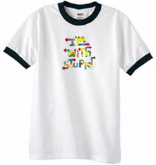 I'm With Stupid Ringer T-Shirt - Funny Two Ways Adult White/Black Tee