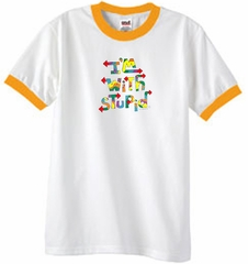 I'm With Stupid Ringer T-Shirt - Funny Two Ways Adult White/Gold Tee