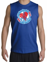 Peace Sign T-shirt All You Need Is Love Muscle Shirt Royal
