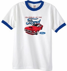 Ford Mustang Ringer T-Shirt - Chairman Of The Ford Adult White/Royal