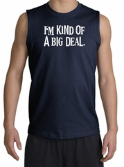 Funny Shirt I'm Kind of a Big Deal White Print Muscle Shirt Navy