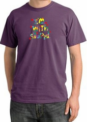 I'm With Stupid Pigment Dyed T-Shirt - Funny Two Ways Plum Tee