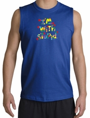 I'm With Stupid Shooter Shirt - Funny Two Ways Royal Muscle Shirt