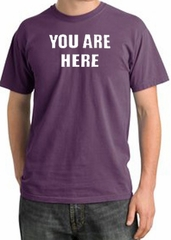 YOU ARE HERE Funny Novelty Adult Pigment Dyed T-Shirt - Plum
