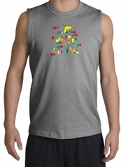 I'm With Stupid Shirt Funny Two Ways Sports Grey Muscle Shirt
