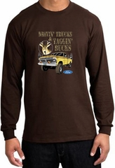 Ford Truck Shirt Driving and Tagging Bucks Long Sleeve Tee Brown
