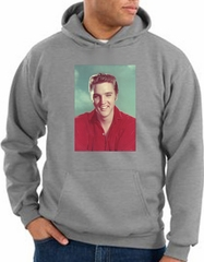 Elvis Hoodie Classic Rock King Red Headshot Hoody Heather