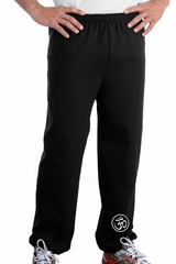 AUM PATCH Mens Yoga OM Pants with Elastic Bottom Black - Ankle Print