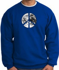 Peace Sweatshirt Peace Earth Satellite Image Sweatshirt Royal
