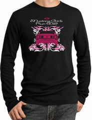 Ford Mustang Long Sleeve Thermal - Girls Run Wild Adult Black Shirt