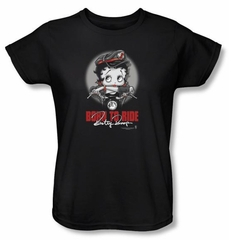 Betty Boop Ladies T-shirt Born To Ride Black Tee Shirt