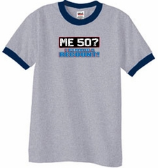 50th Birthday Ringer T-shirt Funny Me 50 Years Heather Grey/Navy Tee