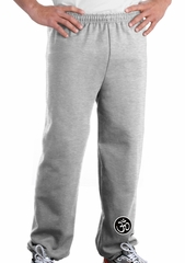 AUM Patch Mens Pants with Elastic Bottom Ash Ankle Print