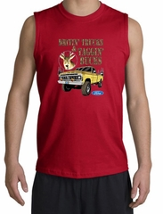 Ford Truck Shirt Driving and Tagging Bucks Red Muscle Shirt