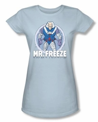 Batman Juniors T-Shirt - Mr Freeze Light Blue Tee