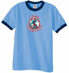 Peace Sign Shirt Come Together Ringer Shirt Carolina Blue/Navy