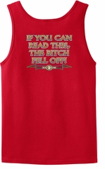 Biker Tank Top If You Can Read This, The Bitch Fell Off Red Tanktop
