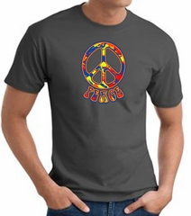 Funky 70s Peace World Peace Sign Symbol Adult T-shirt - Charcoal