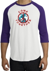 Peace Sign Shirt Come Together Raglan Shirt White/Purple