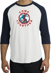 Peace Sign Shirt Come Together Raglan Shirt White/Navy