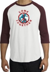 Peace Sign Shirt Come Together Raglan Shirt White/Maroon