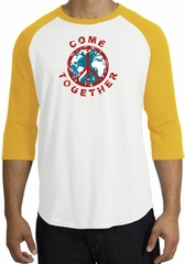 Peace Sign Shirt Come Together Raglan Shirt White/Gold