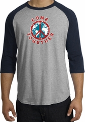 Peace Sign Shirt Come Together Raglan Shirt Heather Grey/Navy