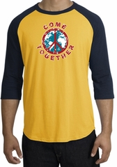 COME TOGETHER World Peace Sign Symbol Adult Raglan T-shirt - Gold/Navy