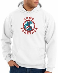 Peace Sign Hoodie Come Together Hoody White