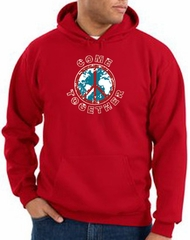 Peace Sign Hoodie Come Together Hoody Red