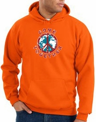 Peace Sign Hoodie Come Together Hoody Orange