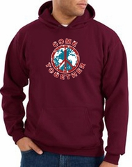 Peace Sign Hoodie Come Together Hoody Maroon