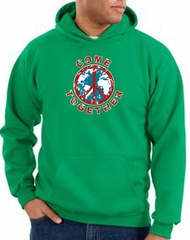 Peace Sign Hoodie Come Together Hoody Kelly Green