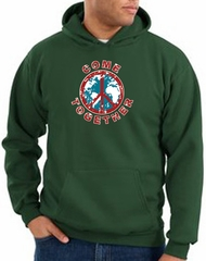 Peace Sign Hoodie Come Together Hoody Dark Green