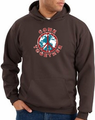 Peace Sign Hoodie Come Together Hoody Brown