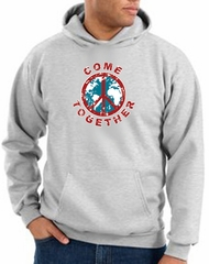 Peace Sign Hoodie Come Together Hoody Ash