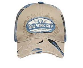 New York City Distressed Hat - Lackpard Cap - Khaki/Colonial Blue