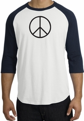 Peace Sign T-shirt Basic Peace Black Print Raglan Shirt White/Navy