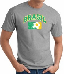 Brazil Soccer Shirt Futbol T-shirt Athletic Heather