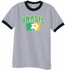 Brazil Soccer T-shirt Futbol Ringer Shirt Heather Grey/Black