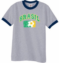 Brazil Soccer T-shirt Futbol Ringer Shirt Heather Grey/Navy