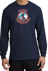 COME TOGETHER World Peace Sign Symbol Adult Long Sleeve T-shirt - Navy