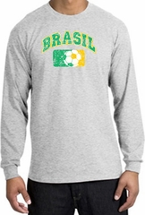 Brazil Soccer Shirt Futbol Long Sleeve T-Shirt Ash