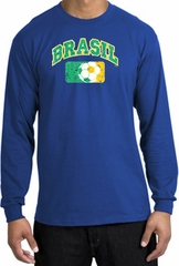 Brazil Soccer Shirt Futbol Long Sleeve T-Shirt Royal