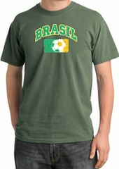 Brazil Soccer Shirt Futbol Pigment Dyed Tee Olive